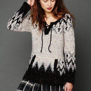 Free People Fairisle Lace Up Pullover Sweater